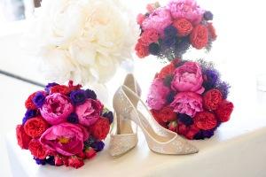 Hummingbird Nest Ranch Wedding - Bridesmaids' Bouquets with Jewel Tones