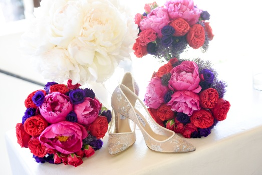Hummingbird Nest Ranch Wedding - Bridesmaids' Bouquets with Jewel Tones
