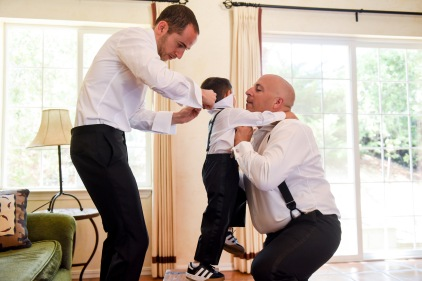 Hummingbird Nest Ranch Wedding - Groom with his Best Man and Ring Boy